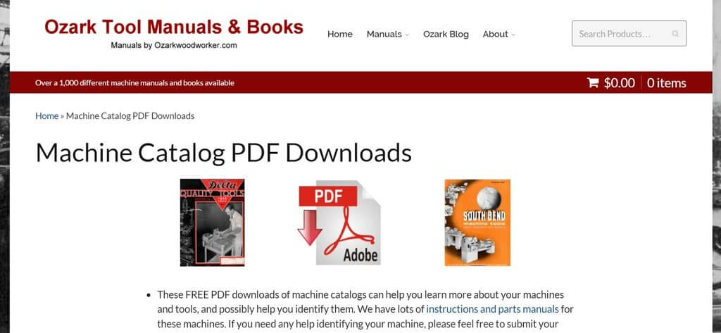 Machine Catalog PDF Downloads | Ozark Tool Manuals & Books on