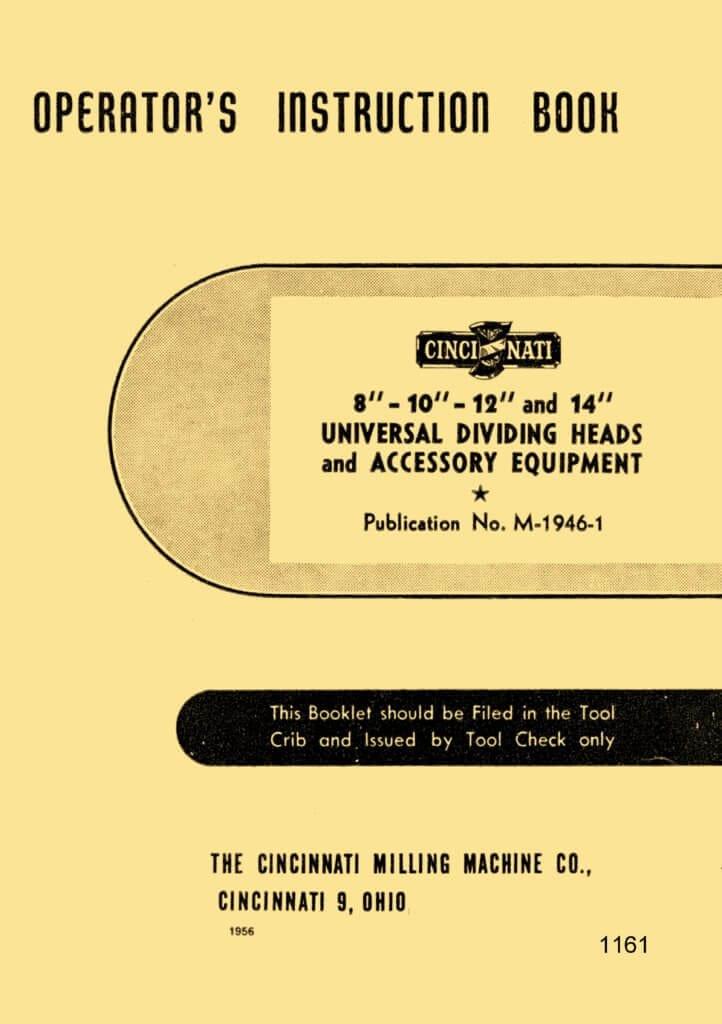 "Cincinnati 8""-10""-12""-14"" Universal Dividing Heads Operator's Instruction Manual | Ozark Tool ..."