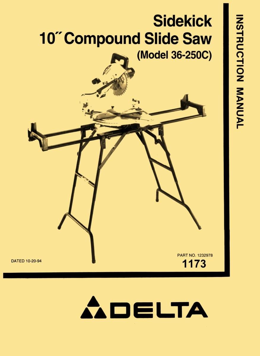 delta 36 250c 10 sidekick slide saw instructions parts manual rh ozarktoolmanuals com Instruction Manual Example Owner's Manual