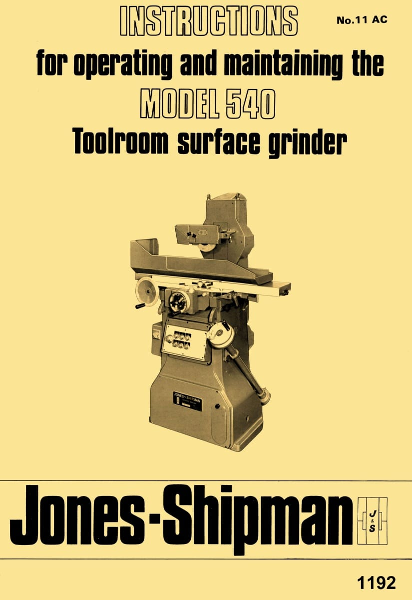 JonesShipman Model 540 Toolroom Surface Grinder Operator