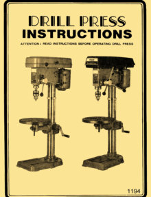 "JET-Asian JDP-8 8"" Drill Press Owner's Operator's & Parts Manual 