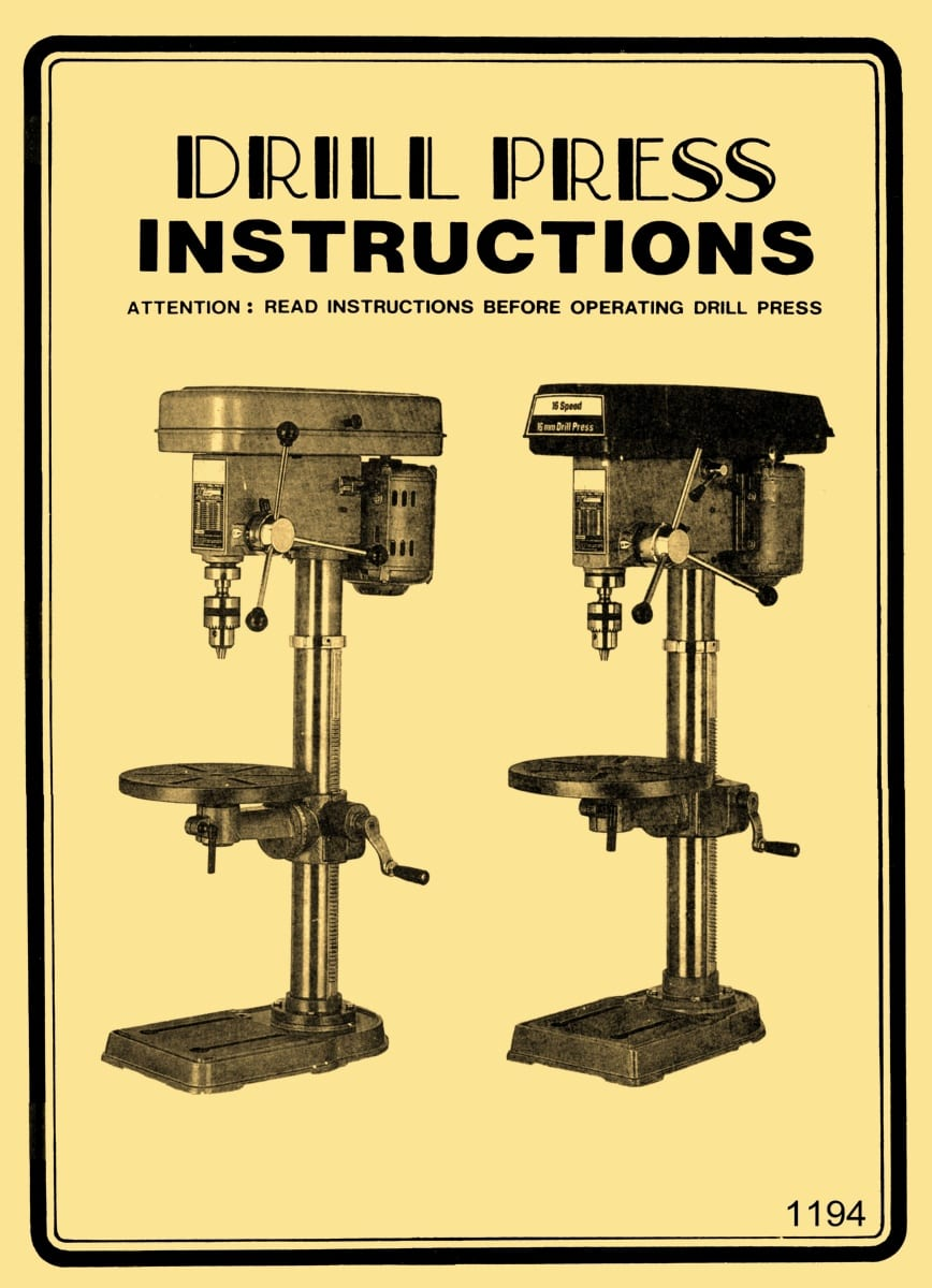 Central, Chicago, Continental, Chih Chuen Taiwan Drill Press Operator's Instruction & Parts ...