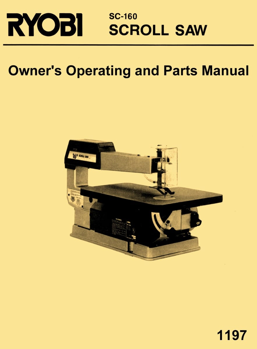Ryobi 16 scroll saw model sc 160 owners operators instruction ryobi 16 scroll saw model sc 160 owners operators instruction parts manual ozark tool manuals books keyboard keysfo Gallery
