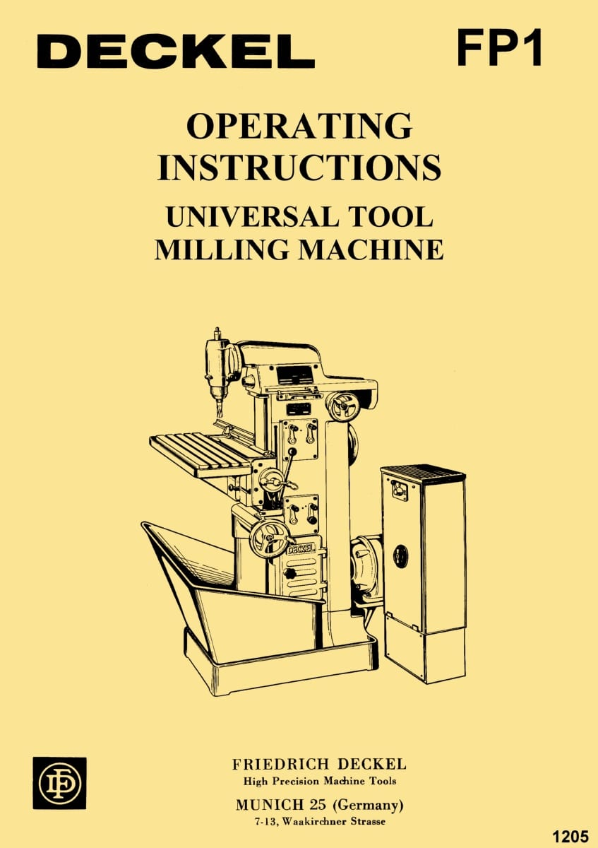 DECKEL Model FP1 Universal Tool Milling & Boring Machine Operating Instructions Manual | Ozark ...