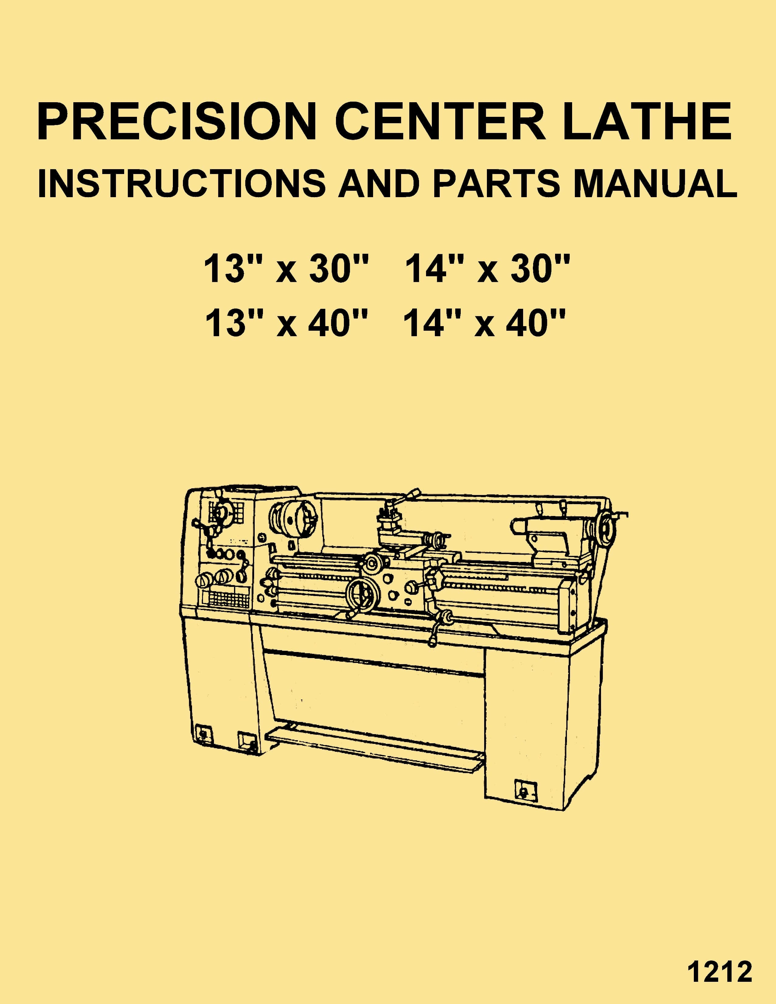 Enco,Warco,JET,Asian 1330 1340 1430 1440 Metal Lathe Instructions  Operator's & Parts Manual | Ozark Tool Manuals & Books