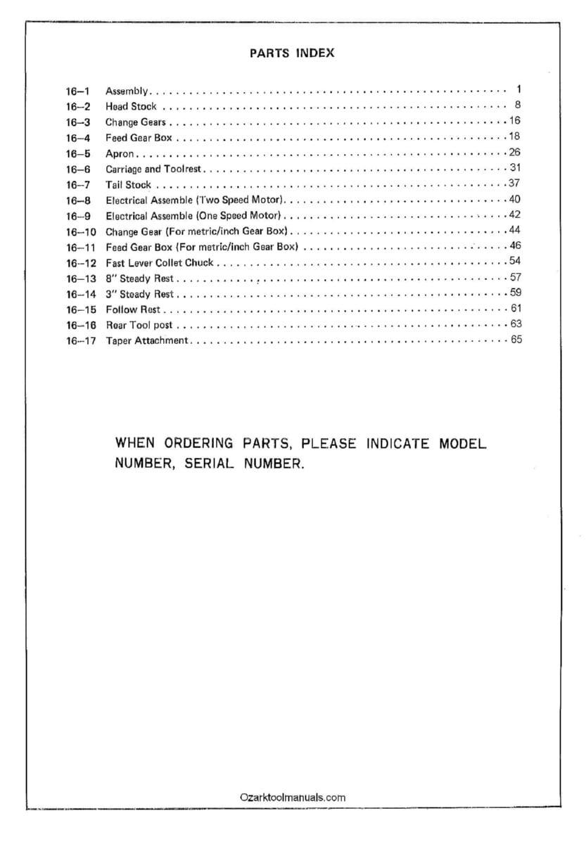 GOODWAY GW-1622,1630,1640,1660 Metal Lathe Parts Manual