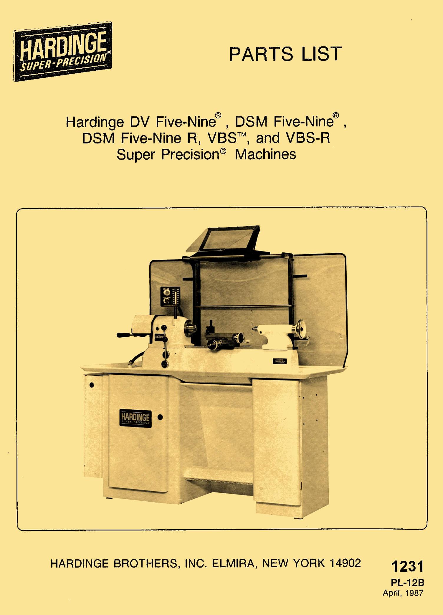 DV-59, DSM-59, DSM-59R, VBS, VBS-R Hardinge Super Precision Lathe Parts List