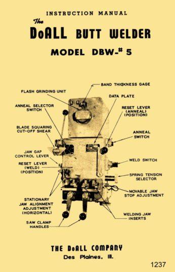 Doall Butt Welder Dbw  5 Operator  U0026 Parts Owner U0026 39 S Manual