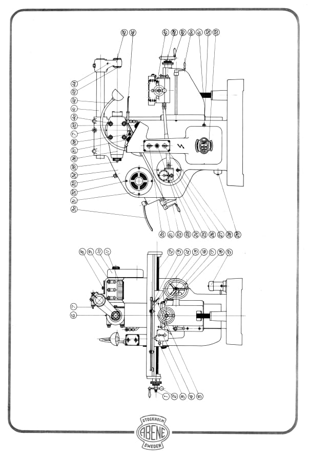 abene vhf-2b milling machine owner's operator's wiring diagram manual